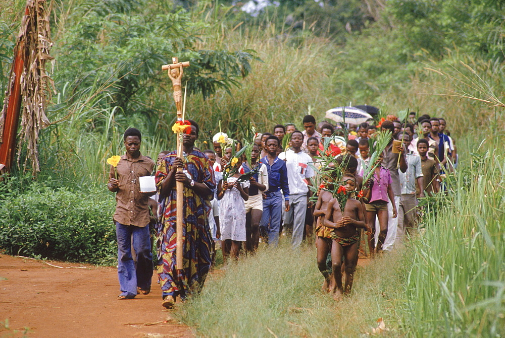Republic of Congo (formerly Zaire) Ituri Forest. A Sunday procession before a mass at a Catholic mission.