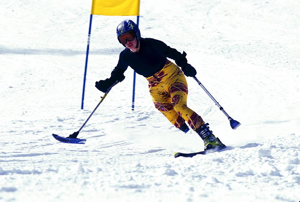 Disabled downhill skier, Allison Jones, practices at Winter Park Resort, Colorado