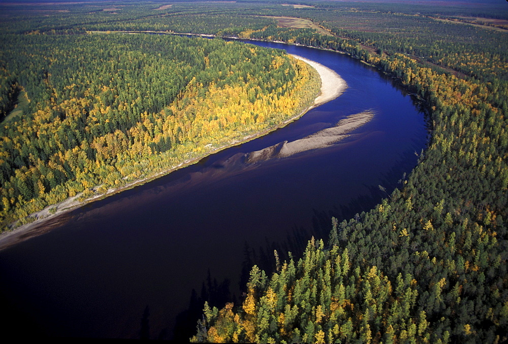 Bend in the Kazym River as seen from a Russian built Mi-8 helicopter, Siberia, Russia