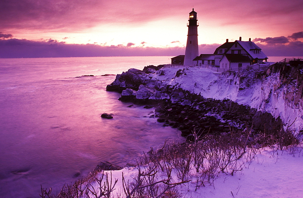 Portland Head Light in Winter Sunrise