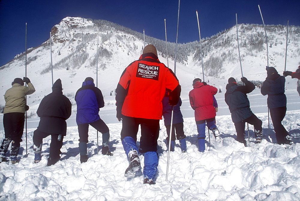 Students at the Silverton Avalanche School in Silverton, Colorado, form a line to search the snow with probes. The Silverton Avalanche School is held each January and it is quite acclaimed.