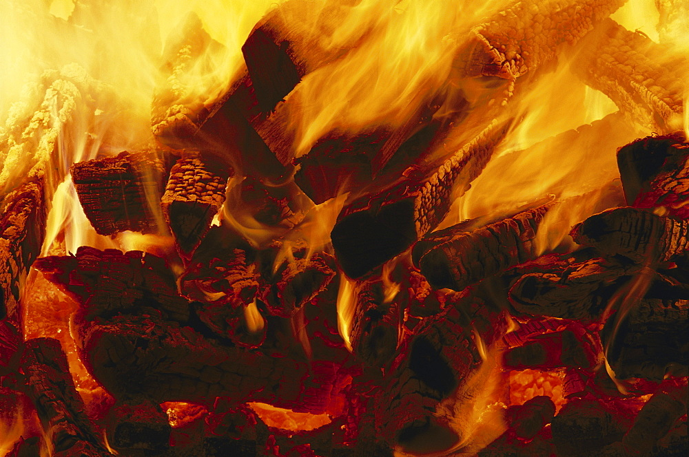 A fire burns in the pottery kiln, Conner Prairie Living Museum in Fischers, Indiana, in February, 2004.