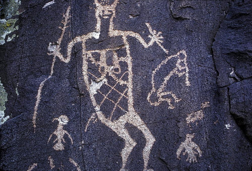 Prehistoric Indian petroglyphs on a volcanic ridge in the Galesteo Basin near Santa Fe, New Mexico