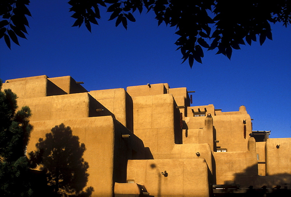 Architectural detail of a large hotel in Santa Fe, New Mexico