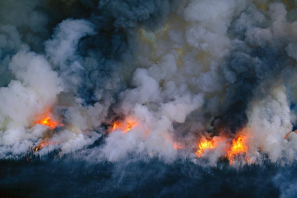 Forest fire north of Fairbanks, Alaska.