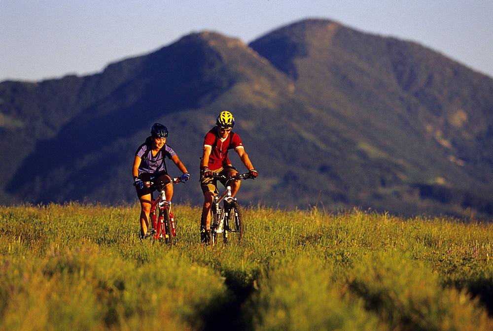 A couple mountain bikes through a green meadown near Bozeman, Montana