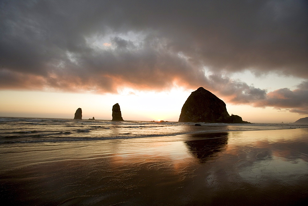 Sunset at Haystack Rock, Cannon Beach Oregon.