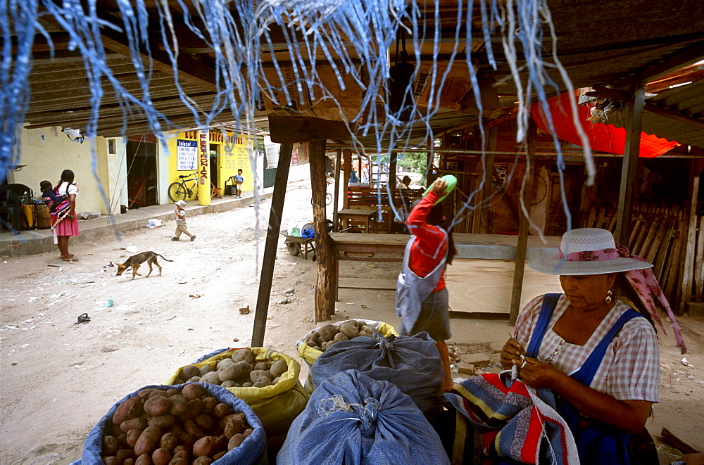 """Vendors sell their wares at a street market in El Torno, Bolivia Friday, Nov. 12, 2004. Ernesto """"Che"""" Guevara was captured by the Bolivian army in 1967 in a nearby valley and executed in La Higuera days later. His body was put on public display in the laundry room of the Vallegrande hospital, then secretly buried under the air strip for 30 years. Guevara and fellow communist guerillas were attempting to launch a continent-wide revolution modeled on Guevara's success in Cuba in the late 1950s. The Bolivian government recently began promoting the area where he fought, was captured, killed and burried for 30 years as the """"Ruta del Che,"""" or Che's Route."""