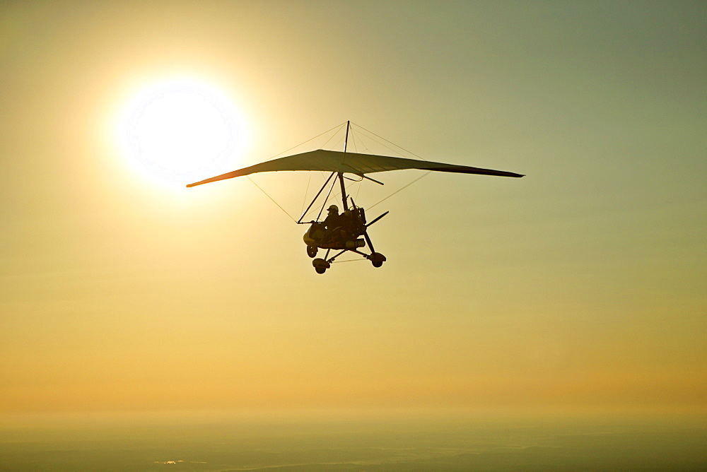 John Dickinson flies his Airborne trike on a dawn patrol flight from the Happy Valley Flight Park in Fountain Inn, SC