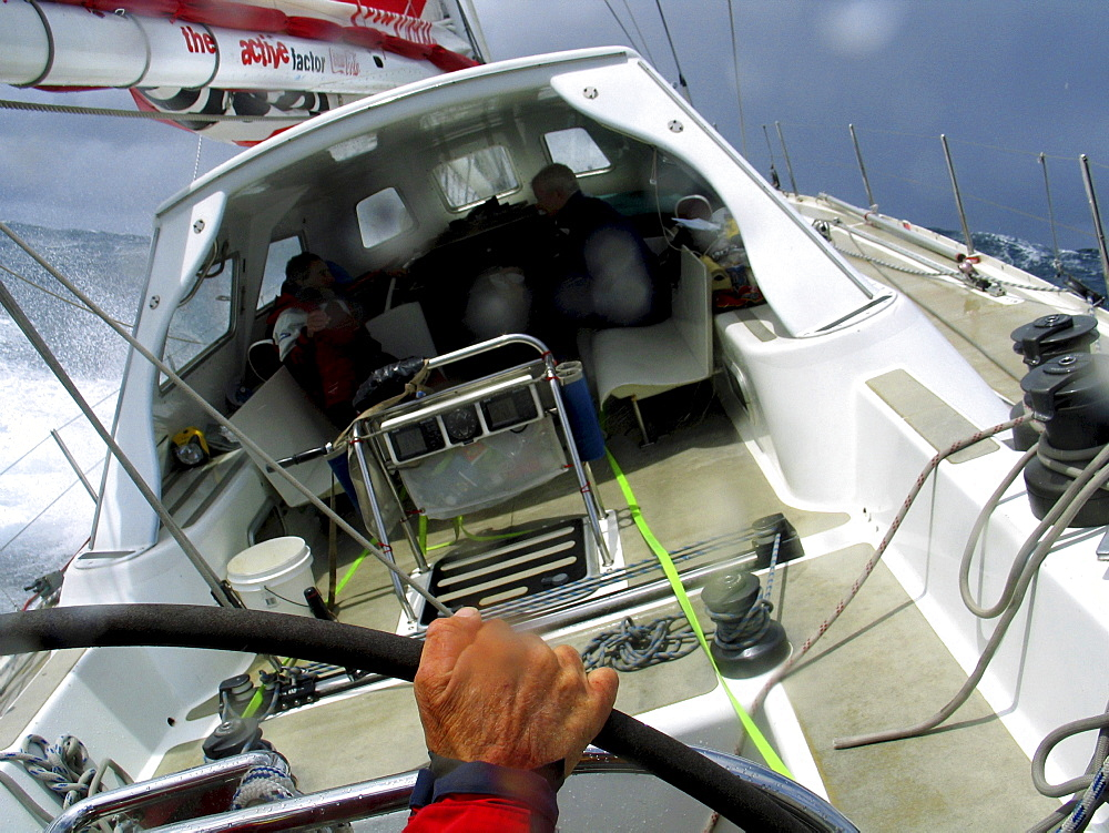 Bad weather on 2041 yacht during the Sydney to Hobart yacht race 2004.