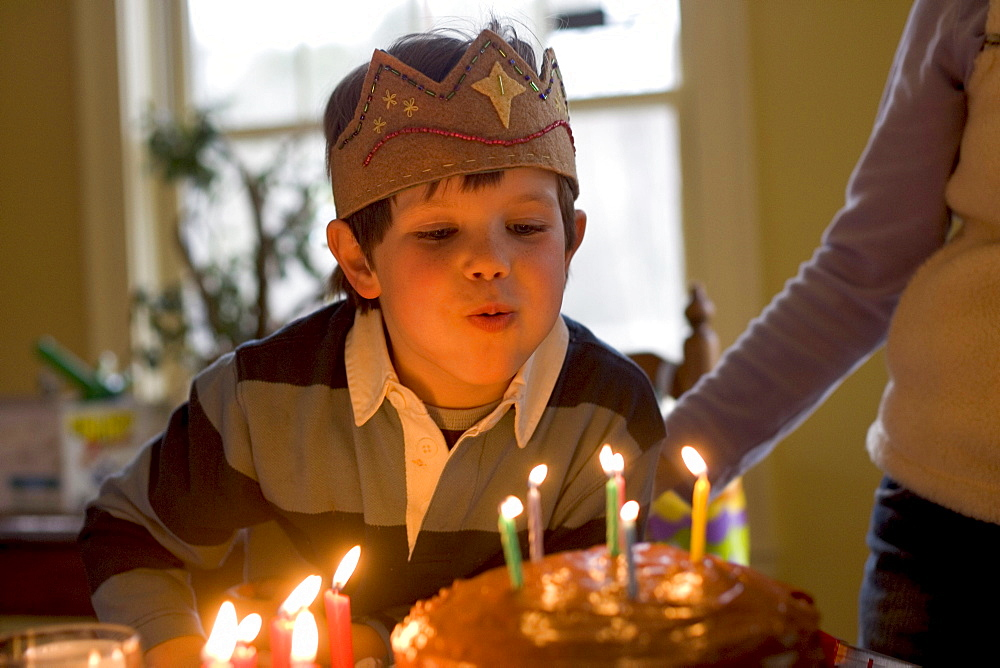 A young boy celebrates his 6th birthday at his home in Yarmouth, Maine.