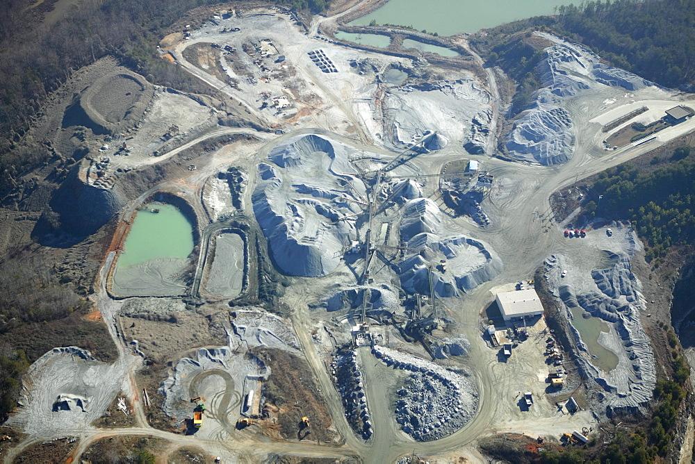 Aerial view of a gravel quarry operation near Marietta, SC.