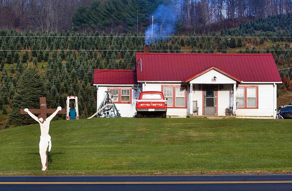 A Christmas tree farmer's house in Vilas, North Carolina.