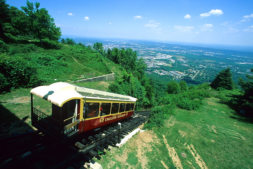 The Incline Railway approaches the station atop Lookout Mountain in Chattanooga, TN