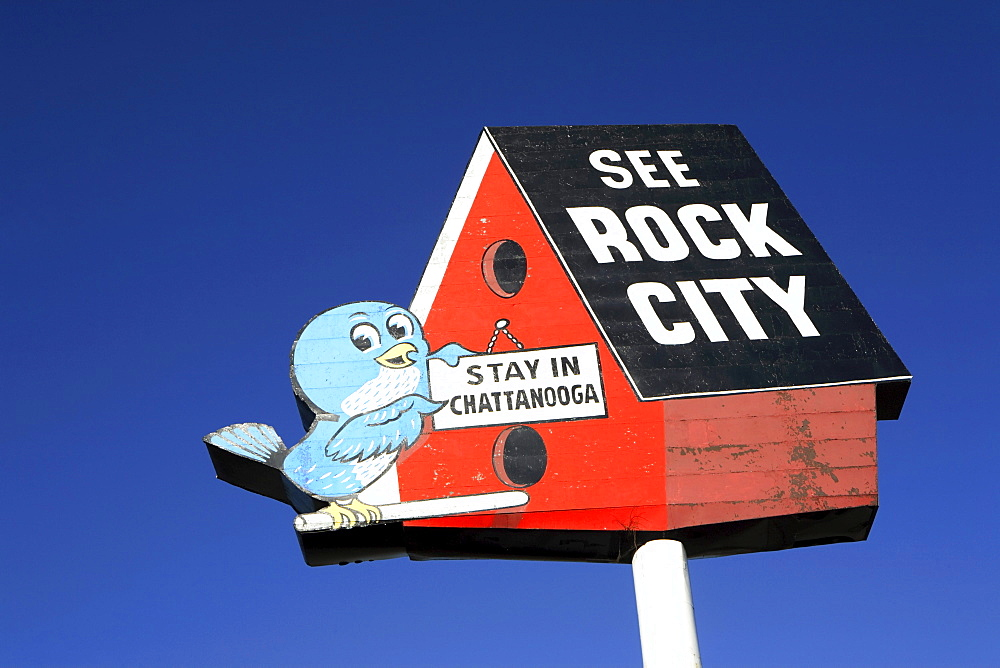 Oversized billboard advertising the tourist venue called Rock City in Chattanooga, TN