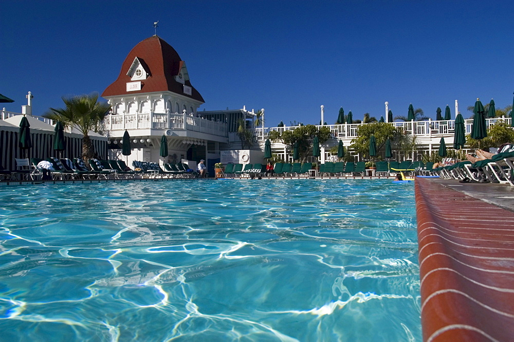 The pool water  at the world famous hotel Del Coronado on Coronado island in San Diego, California.