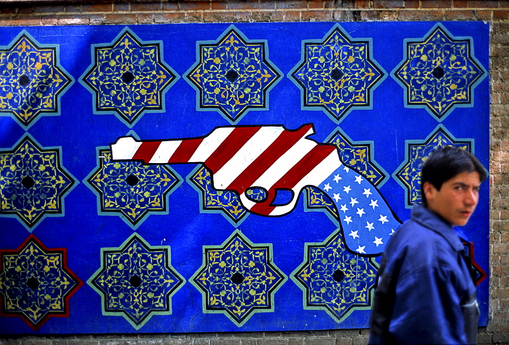 Anti-American murals painted on the wall of the former American Embassy in Tehran, Iran.