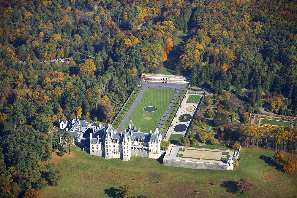 Aerial view of the Biltmore House in Asheville, NC