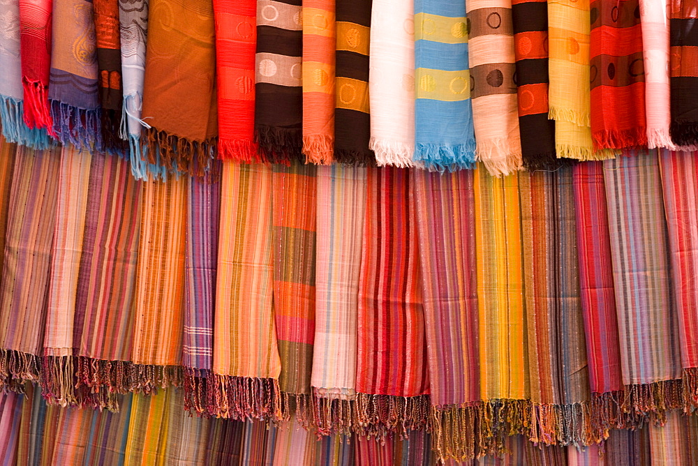 Colorful display of fabric swatches in Zanzibar