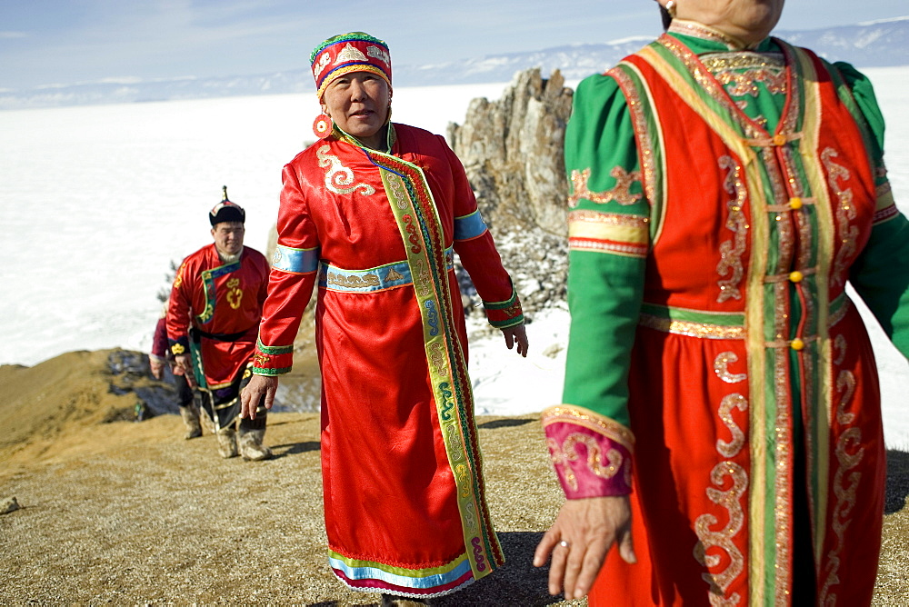 A local Buryat wedding ceremony taking place on Olkhon Island, Siberia, Russia.