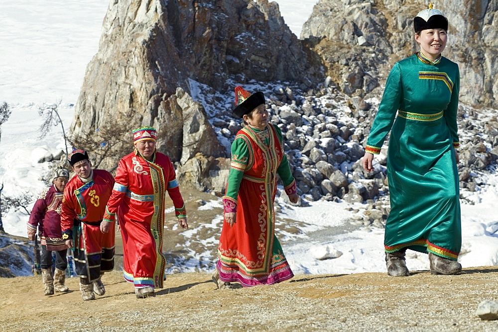 The members of a local traditional Buryat wedding ceremony on Olkhon Island, Siberia, Russia.