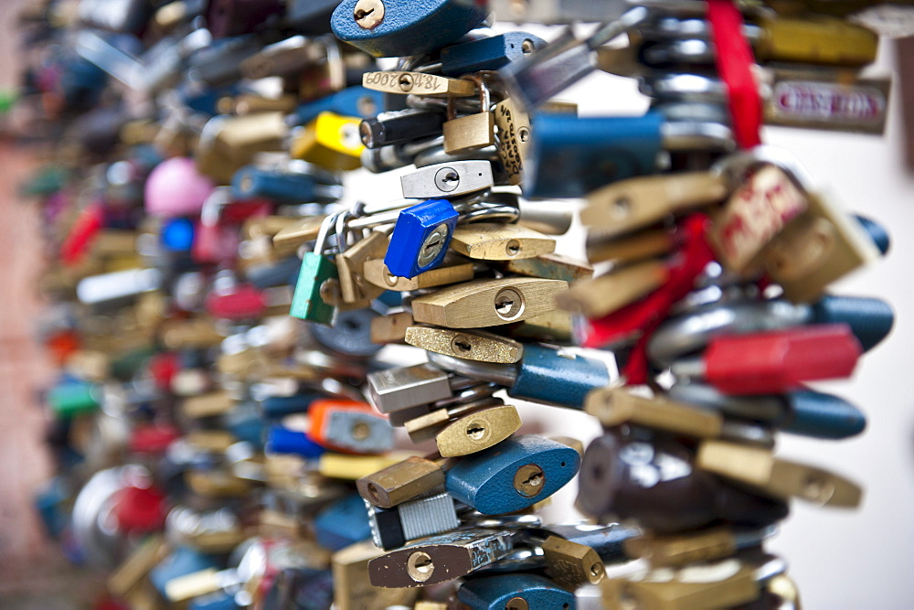 Locked locks as a love symbol,  Mala Strana district,  Prague,  Czech Republic