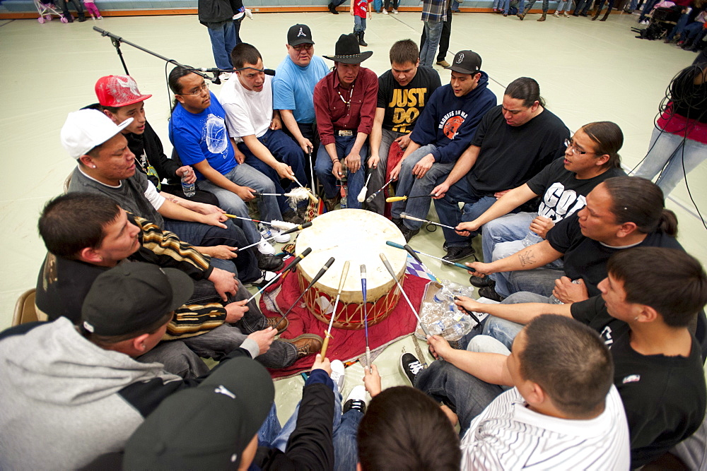 With the Yellowstone bison returning to the Ft. Peck Reservation, the Assiniboine and Sioux tribes held a winter round dance in a school gym.