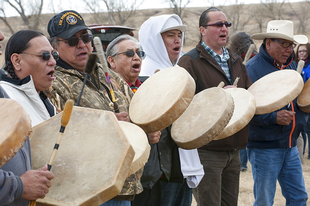 Tribal singers welcome the bison home. Ft. Peck tribal leaders and members went to the pen holding the Yellowstone bison Wednesday to celebrate their return to tribal lands.
