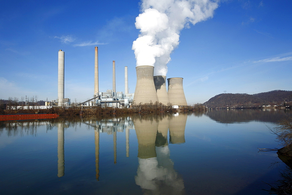 Water level view of a coal-fired power plant.