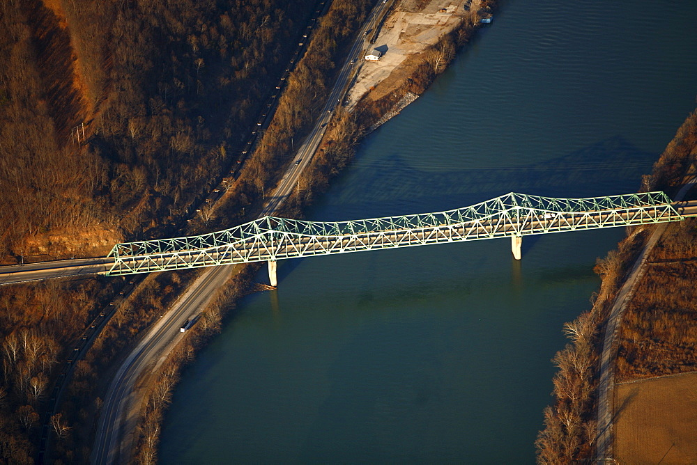 Aerial view of highway bridge over a river.