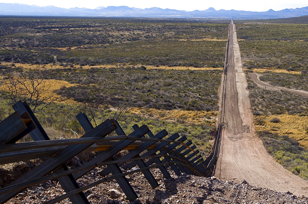 The new Normandy-style border fence runs through parts of eastern Arizona.