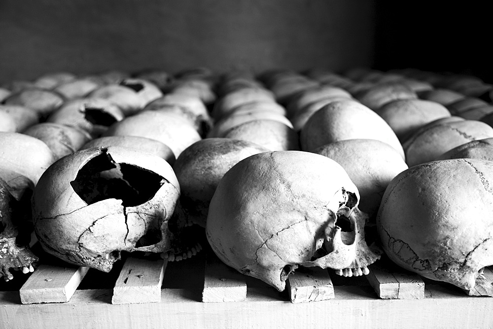 Skulls are lined up at the Murambi Genocide Memorial outside of Gikongoro in southern Rwanda.