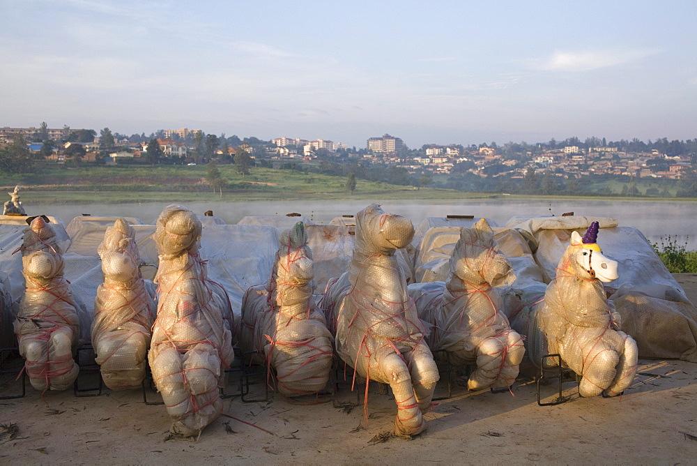 Wrapped statues in amusement park in Kigali, Rwanda