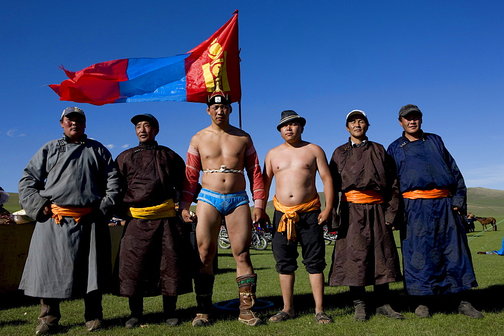 Mongol wrestlers.