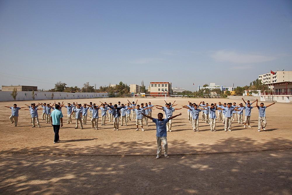 School Yard exercises in Turpan, Xinjiang, China.