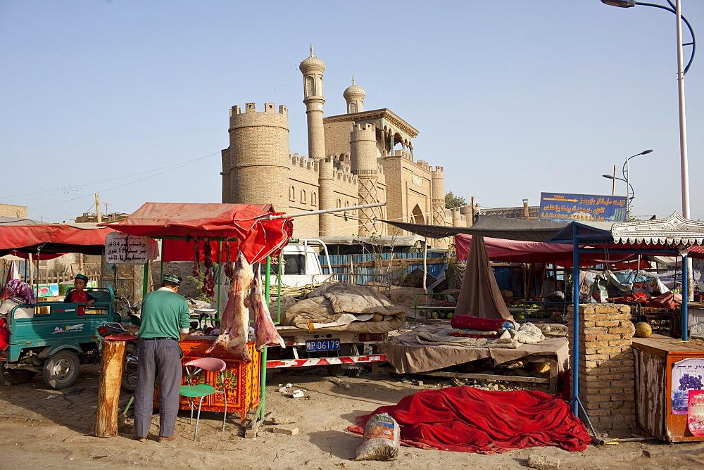 Street life in Yarkand, Xinjiang, China.