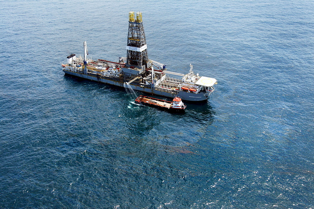 Aerial view of oil rig in the Gulf of Mexico off the coast of Louisiana.