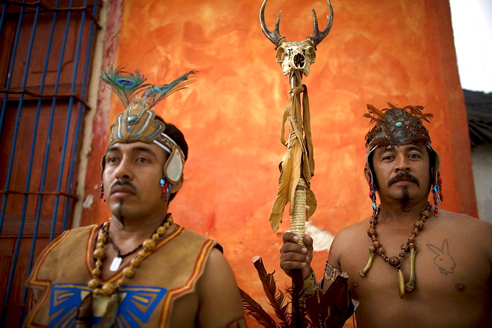 Mayan ball players pose for their portrait in Chapab village in Yucatan state in Mexico's Yucatan peninsula