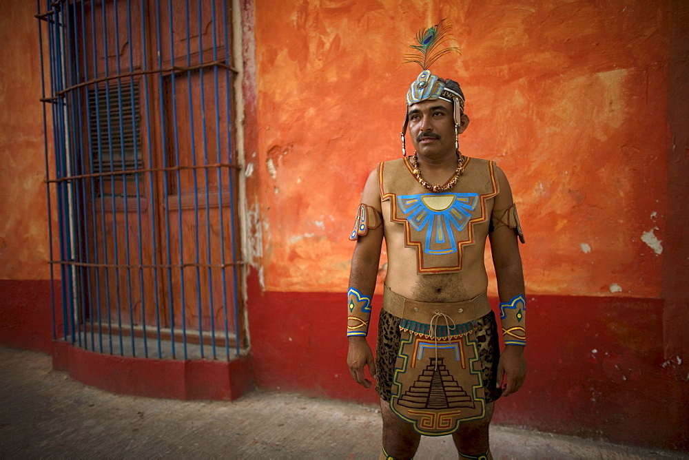 A Mayan ball player poses for a portrait in Chapab village in Yucatan state in Mexico's Yucatan peninsula