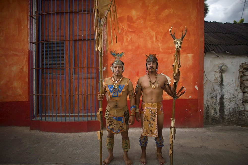 Mayan ball players pose for a portrait in Chapab village in Yucatan state in Mexico's Yucatan peninsula