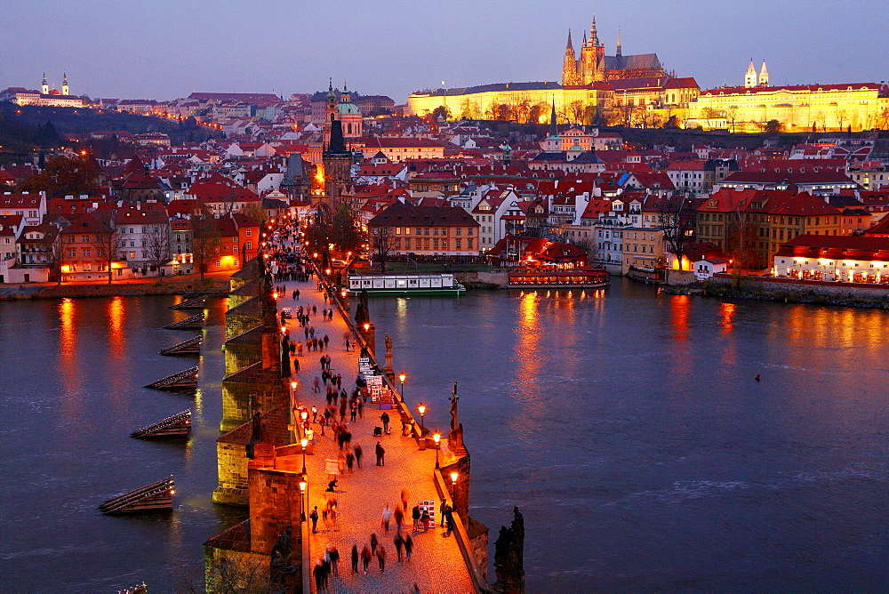 The Charles Bridge  over the Vitava River as seen from Stare Mesto tower