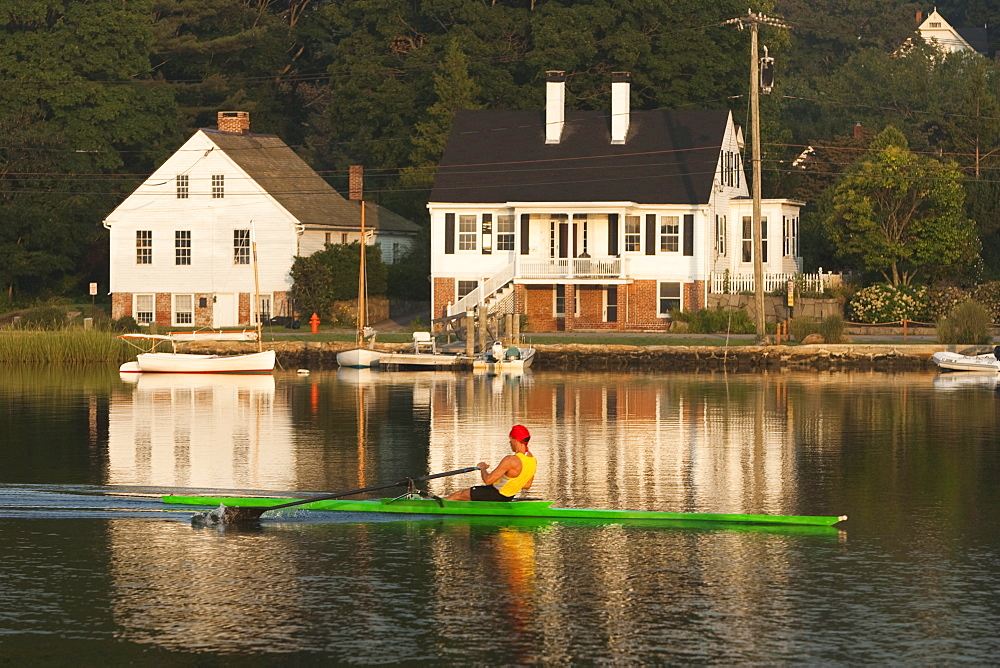 A man rowing in Connecticut.