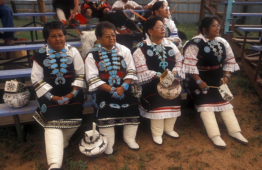 Zuni Maiden Dancers before an evening dance during the annual Tribal Fair, Zuni Tribal Reservation, Zuni, New Mexico