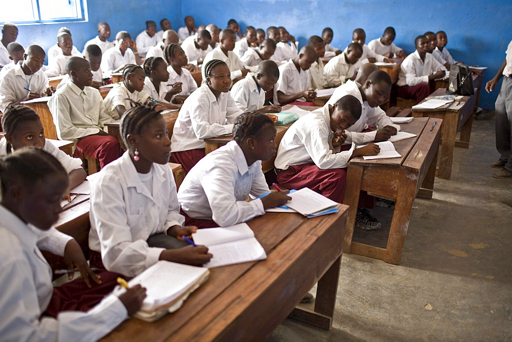 Classroom filled with young students in a public school in then northern Liberian town of Voinjama in Lofa County.