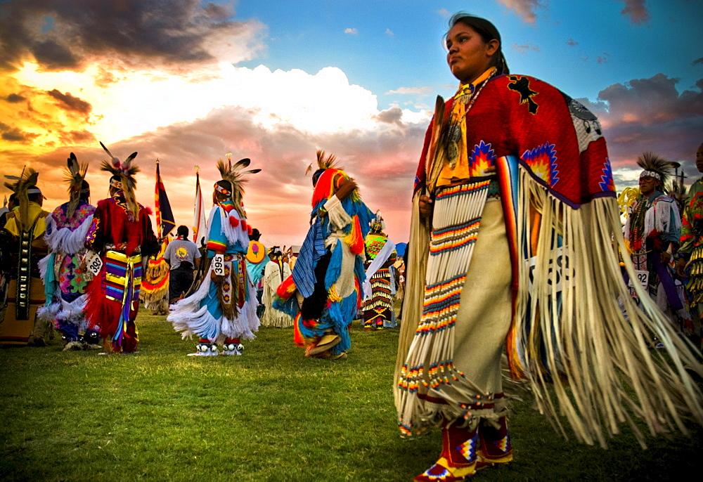 Native Americans perform a dance at a powwow in Mesa Verde, Colorado.