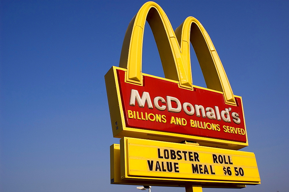 Culinary Maine:  McDonald's offers a regional variety of its more pedestrian fare by putting lobster rolls on the menu.  July, 2004.