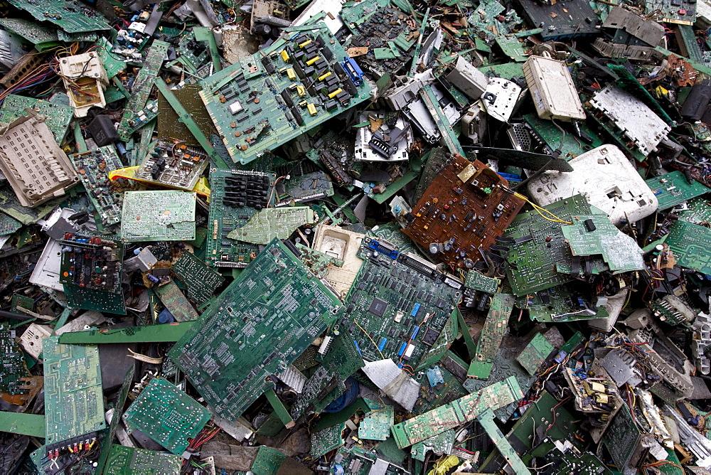 Circuit boards for recycling in Taizhou Taigang Metal Co. Ltd., Fengjiang Disassembling Industrial Park, Luqiao District, Taizhou City, Zhejiang Province, China.