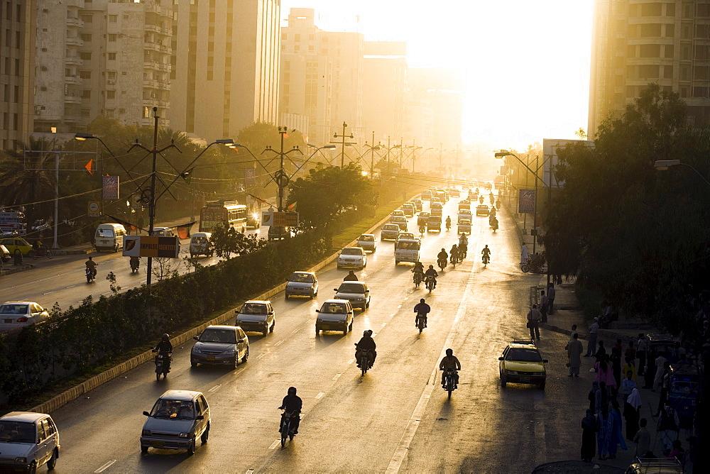 Shariah Faisal, a main thoroughfare, at rush hour in Karachi, Pakistan  on February 1, 2008.