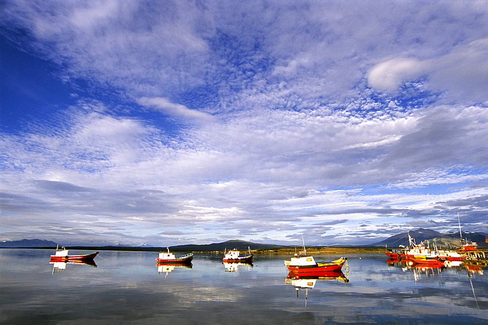 A small fleet of wooden fishing boats lie anchored in Puerto Montt, Llanquihue Province, Chile on January 31, 2006. Despite being a powerful economic force in the region, the wild  fishing industry has become threatened by the rapid rise in salmon aquaculture