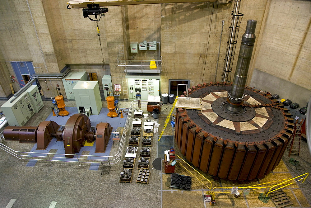 Inside the generator room of the historic Hoover Dam near Las Vegas, Nevada.